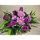 36cm grande lusso seta artificiale rosa viola & Gerbera Bush–per matrimoni/tomba/casa