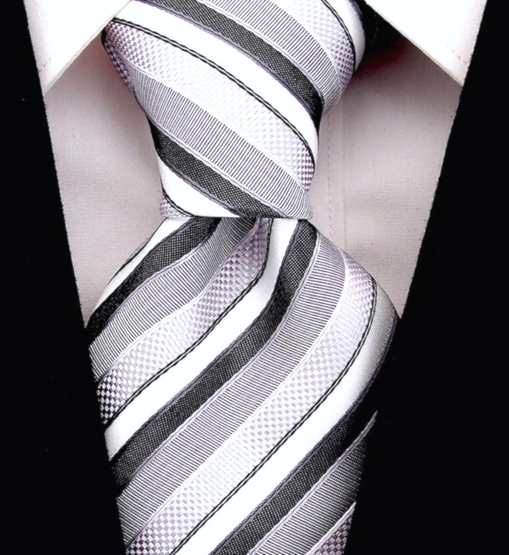 Men/'s Skinny Tie Silver Grey White Twill 6CM Slim Necktie Groomsmen Thin Ties