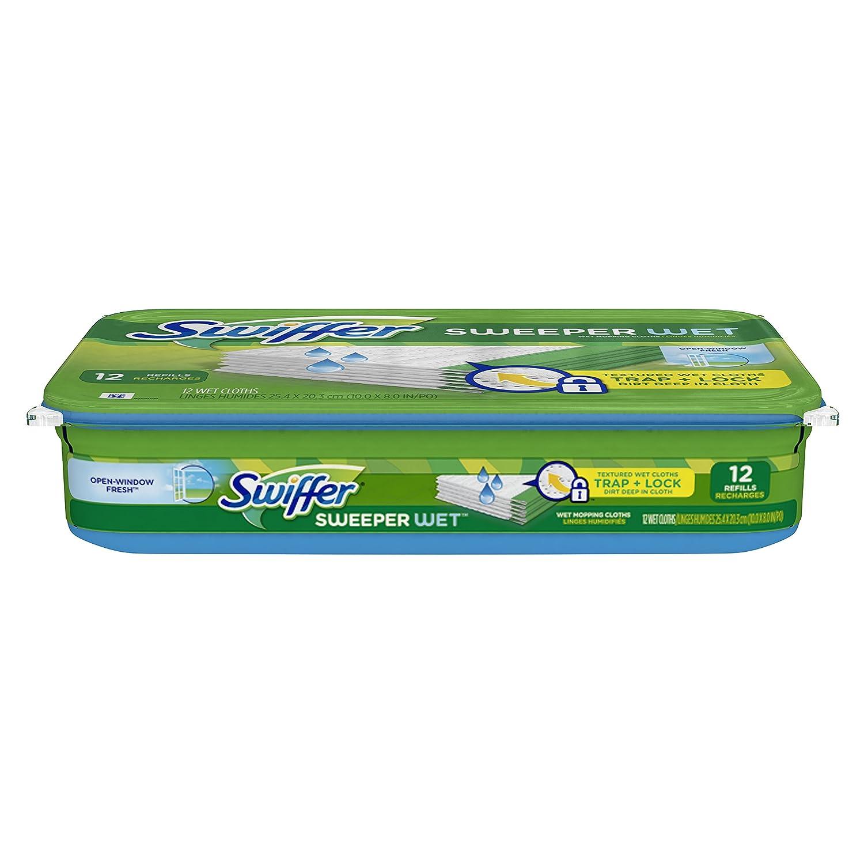 Swiffer Sweeper Wet Mopping Pad Refills for Floor Mop Open Window Fresh Scent 12 Count