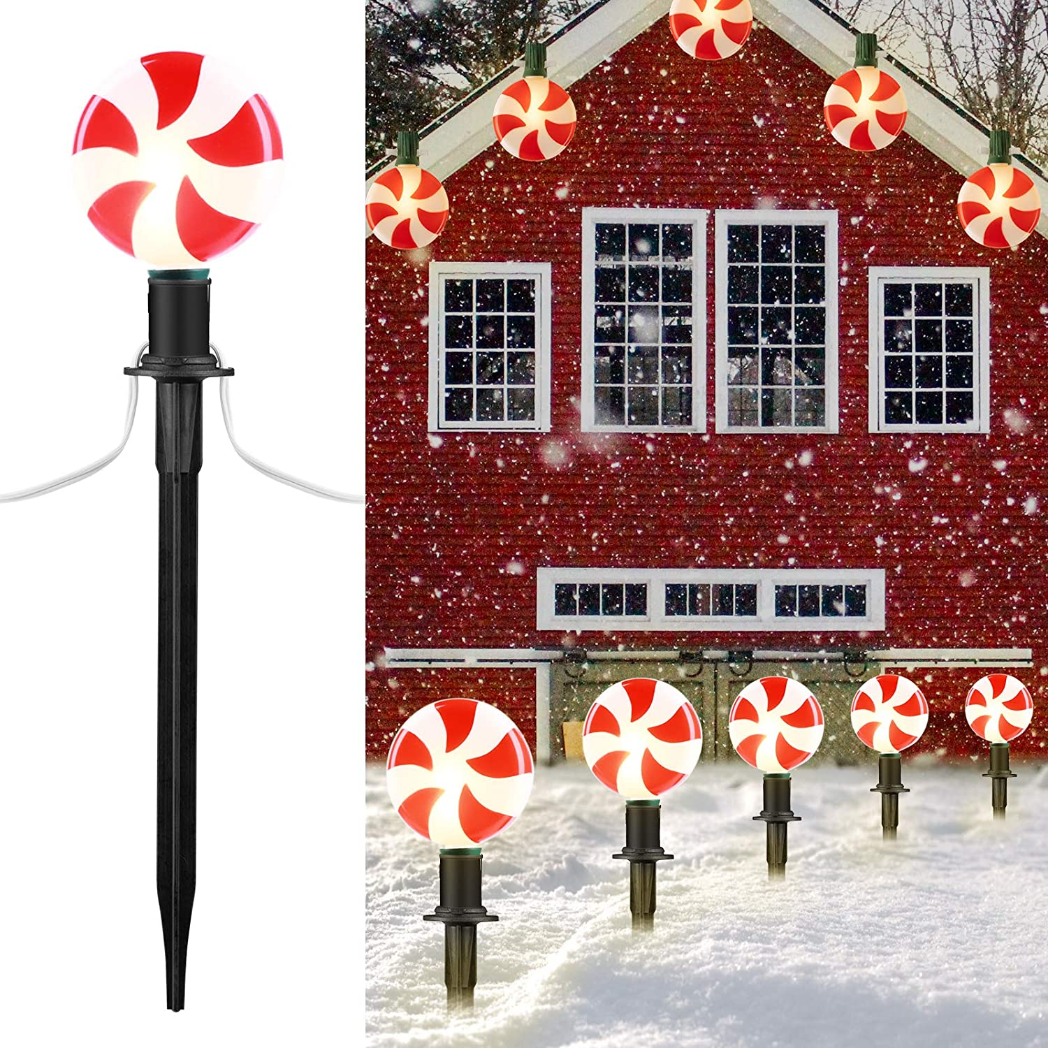 Outdoor Lollipop Christmas Pathway String Lights, 7.16 Feet Wire 10 Inches Stake, Clips, Pluggable, Hangable, Waterproof, Connectable Holiday Decor Light for Gutter Roof, 2 Pack,10 Lights, Warm White