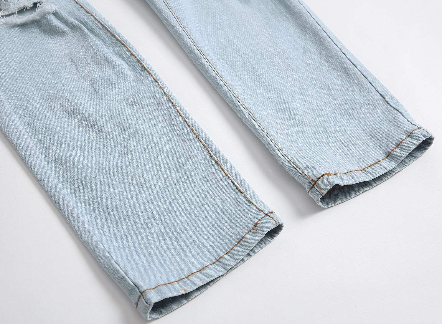 GARMOY Men's Fashion Light Blue Ripped Destroyed Flower Embroidered Skinny Fit Jeans Blue 32 by GARMOY (Image #7)