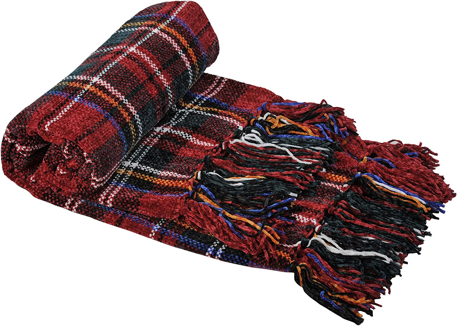 """Home Soft Things Multi Color Crystal Chenille Throw Blanket 60"""" x 80"""" Red/Green/White Plaid"""