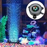 Dxcet LED Aquarium Air Bubble Light Fish Tank Air Curtain Bubble Stone Disk with 6 Color Changing LEDs