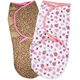 Summer Infant 2 Pack Cotton Knit Swaddleme, Flowers in Wild (Small/Medium)