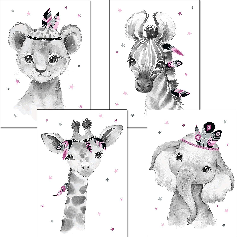DIN A3 ohne Rahmen Kinderbilder Set Kinderzimmerbilder Dschungeltiere Indianer Babyzimmer Deko Junge M/ädchen LALELU-Prints A3 // A4 Bilder Kinderzimmer Poster rosa grau