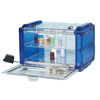Bel-Art Secador Clear 4.0 Horizontal Auto-Desiccator Cabinet with Blue End-Caps; 100V, 1.9 cu. ft. (F42074-0106): Science Lab Desiccator Accessories: ...
