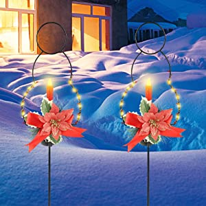 MorTime 2 Pack Christmas Garden Stakes Decor, Metal Snowman Yard Stake with LED Lights for Home Outdoor Yard Lawn Pathway Walkway Driveway Christmas Holiday Winter Decoration