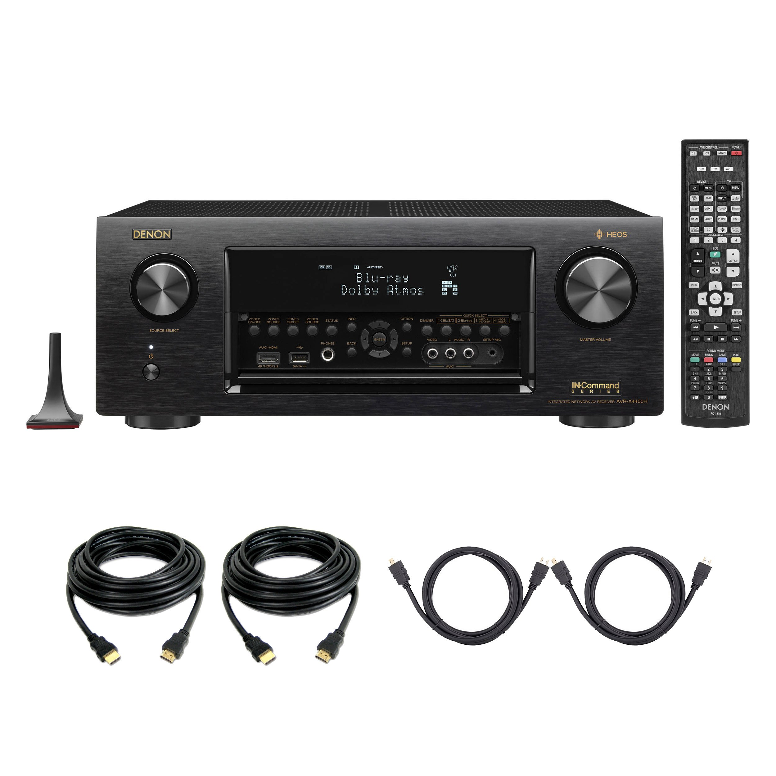 Denon AVR-X4400H Dolby Atmos, 9.2 Network ,Bluetooth,WiFi, AirPlay 4K Ultra HD In-Command AV Receiver with HEOS Technology with 4 HDMI Cables by Denon