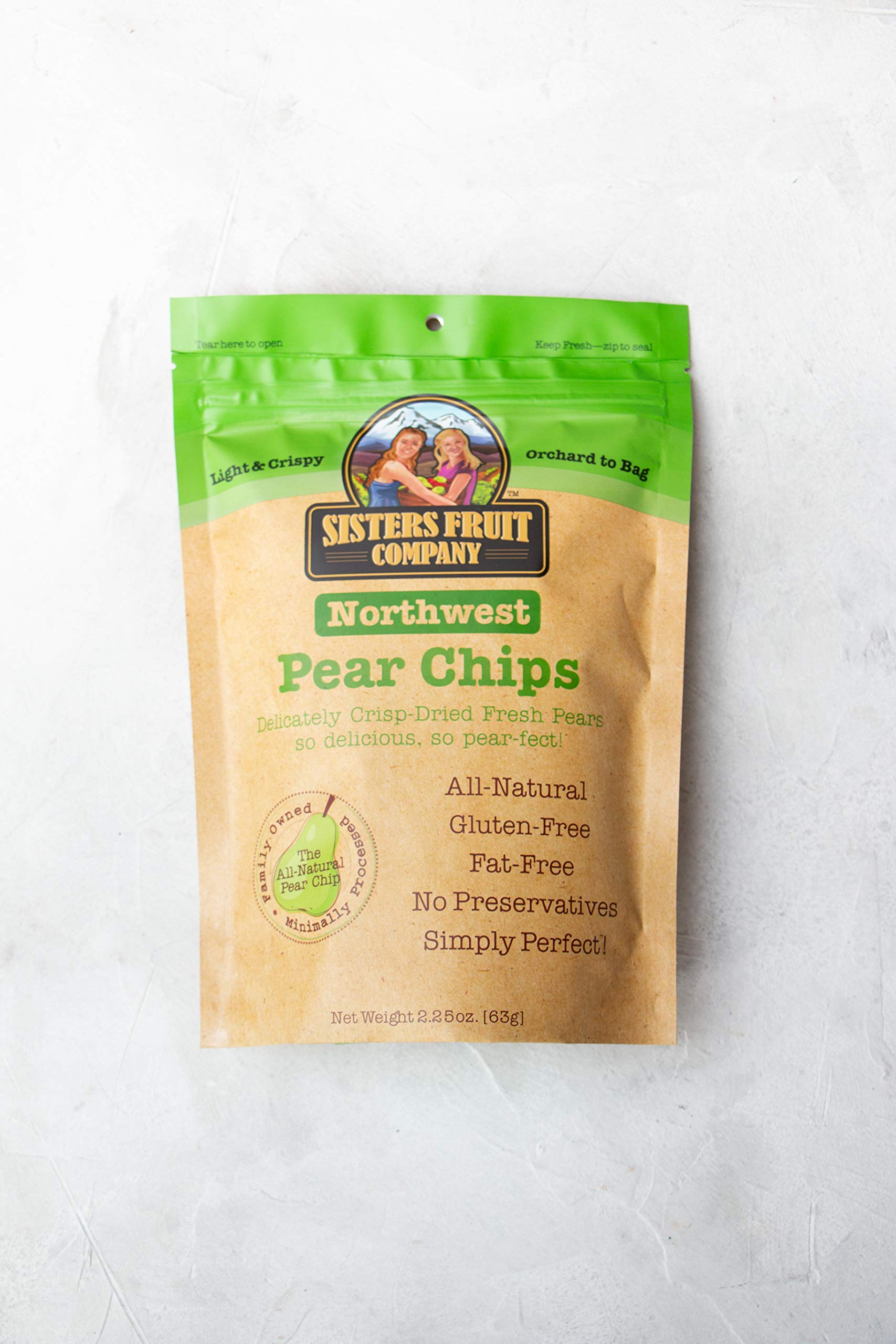 Sisters Fruit Company, Northwest Pear Chips, All-Natural, No Preservatives, Fat-Free (SIX 2.25 OZ. Bags) by Sisters Fruit Company