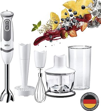 Braun Minipimer 5 MQ 5037 WH Puree and sauce - Batidora de mano, incluye paquete accesorios premium, 750 w potencia, 21 velocidades, campana anti-salpicaduras, blanco y gris: Amazon.es: Hogar