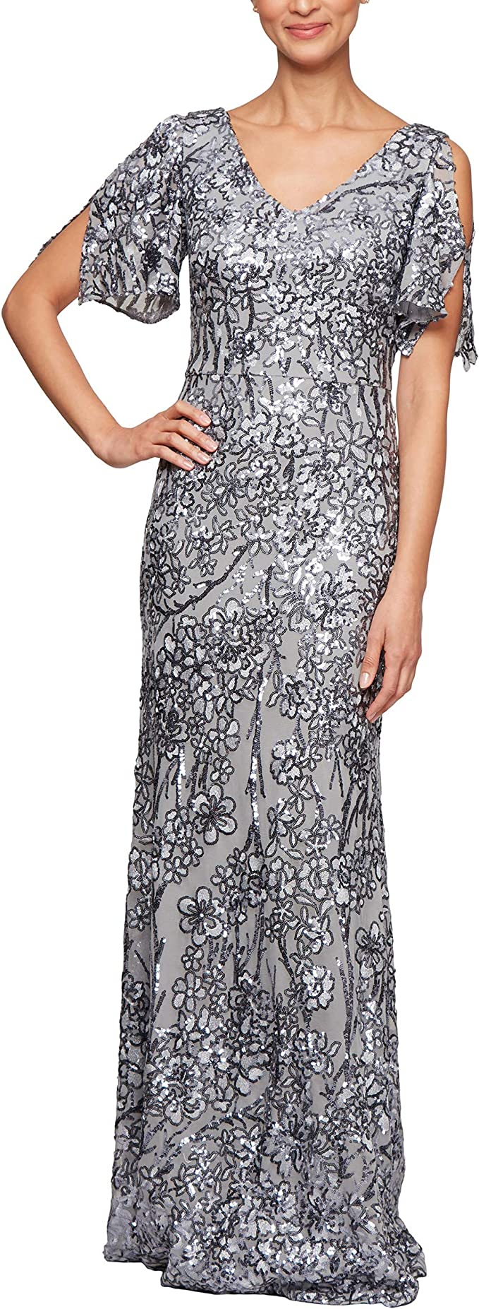 Sequin Dress with Flutter Sleeves