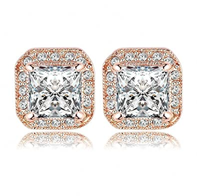 23f851ceb Amazon.com: Women's Cubic Zirconia Stud Earrings Men Fashion Jewelry 18K Rose  Gold Plated Square Stud Earring SWA Elements Earrings (rose gold): Jewelry