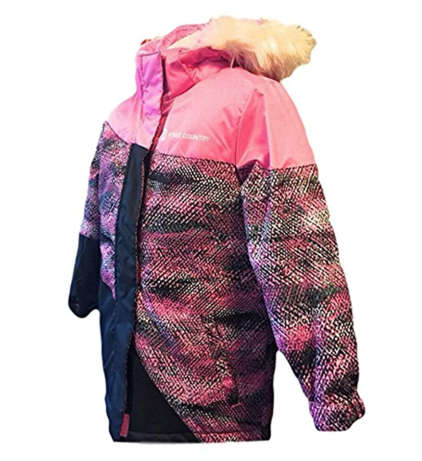 Free Country Girls Radiance Dobby Boarder Winter Coat Faux Fur Removable Hoodie Jacket, Pink Sizzle Pink Sizzle (3T)