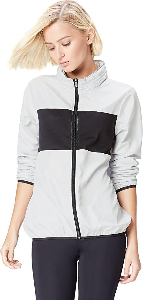 Activewear Jacke Damen versteckbare Kapuze und Colour Blocking