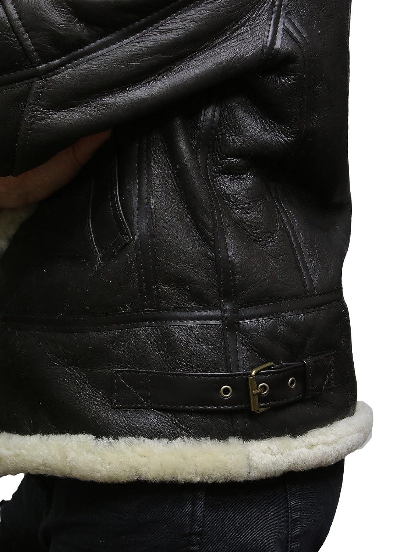 Brandslock Womens Genuine Shearling Sheepskin Leather Jacket Hooded