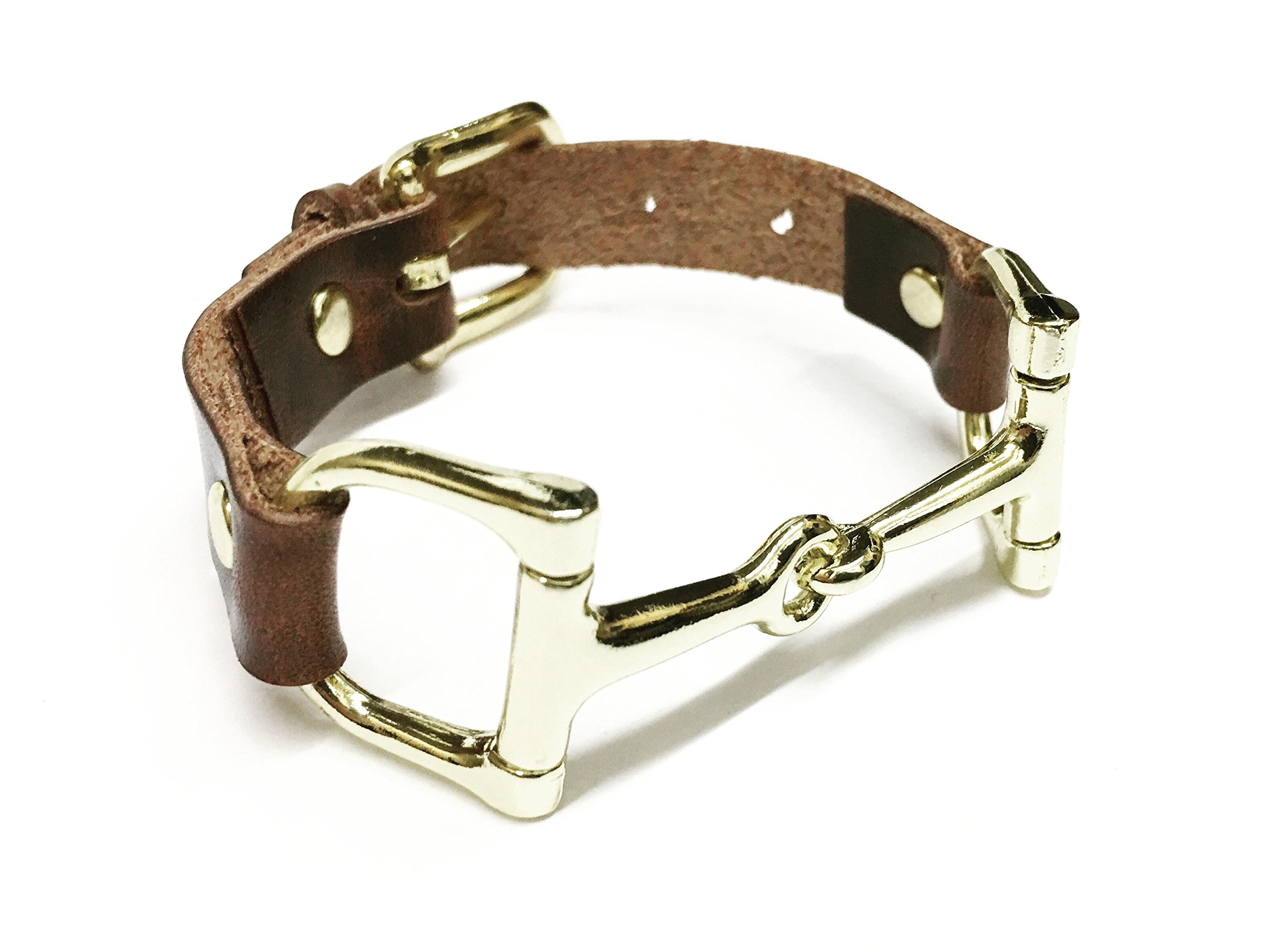 Snaffle Leather Bracelet - Brown Leather and Gold Snaffle