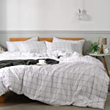 JELLYMONI 100% Natural Cotton 2pcs Plaid Duvet Cover Sets,White with Black Grid Geometric Pattern Printed Comforter…