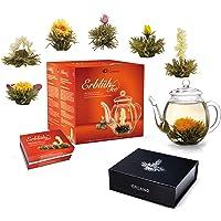 Creano Theebloemen Mix - Cadeauset ErblühTee met glazen pot 0,5l & 6 theeballetjes witte thee +Magnetrondoos met 6…