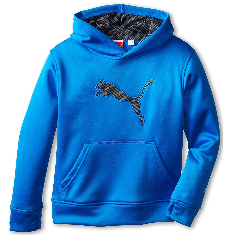 Puma Boys Hoodie Athletic Sweatshirt mit Kapuze Fleece atmungsaktiv blau X-Large