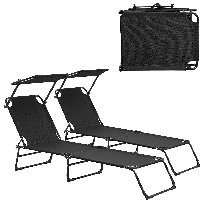 [casa.pro]® Transats [2er Set] Pliable 190cm Noir avec toiture Pare-Soleil de Relax Acier