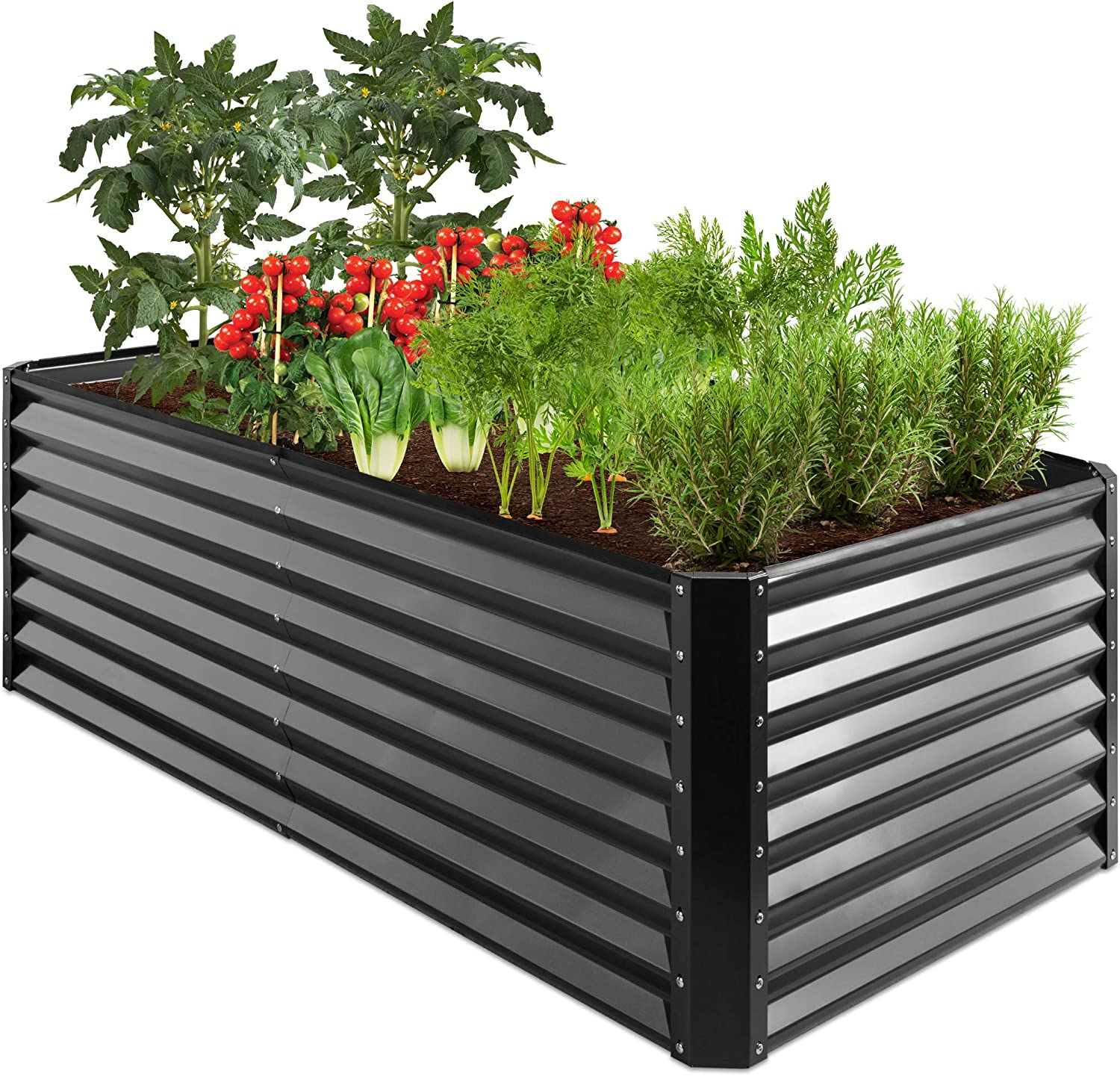Best Choice Products 6x3x2ft Outdoor Metal Raised Garden Bed, Deep Root Box Planter for Vegetables, Flowers, Herbs, and Succulents w/ 269 Gallon Capacity