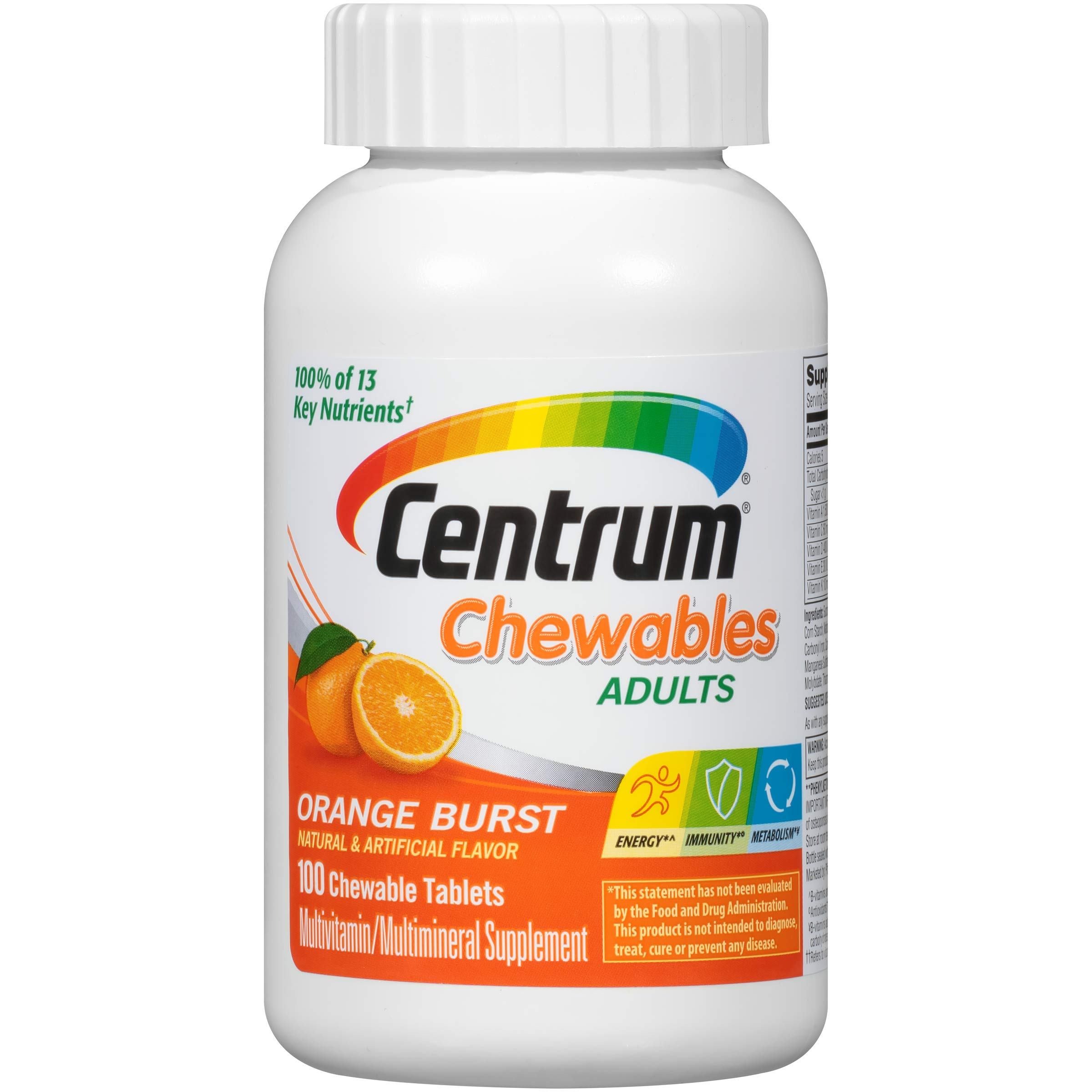Centrum Chewable Multivitamin for Adults, Multivitamin/Multimineral Supplement with Vitamin C, D3, E and Antioxidants, Orange Burst Flavor - 100 Count + 2 Free Months of obé Fitness