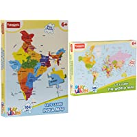 Funskool Play & Learn India Map Puzzles + Play & Learn World Map Puzzles