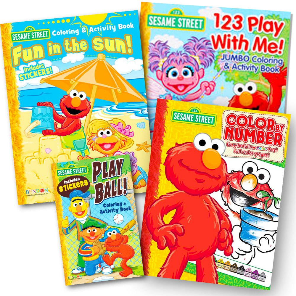 Amazon.com: Sesame Street Coloring Book Super Set (3 Jumbo Books ...