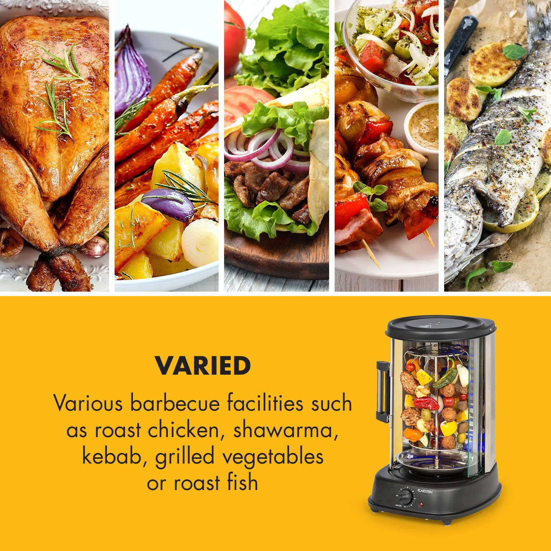 Klarstein Kebab Master Pro Vertical Rotisserie • Kabob-Grill • Kabob Skewer • Rotating Oven • Timer • Max 1500W • Up to 464°F • 22 qt • Stainless Steel • for shawarma, kebob, turkey or fish • Black by KLARSTEIN (Image #8)