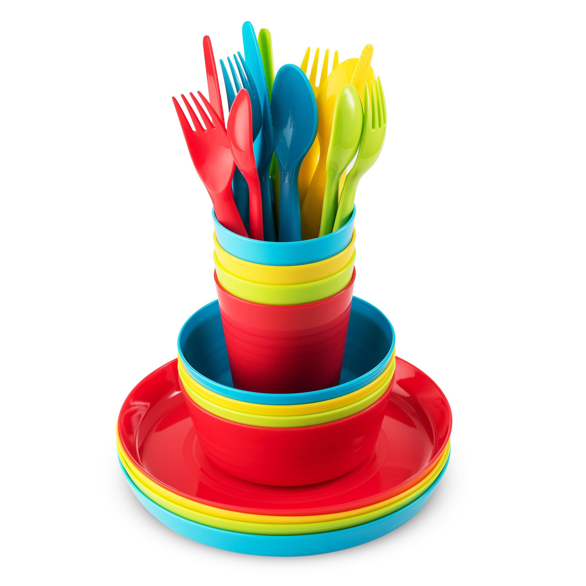 Plastic Dinnerware Set of 4 By Plaskidy - 24 piece Kids dishes Set Includes, Kids Cups, Kids Plates, Kids Bowls, Flatware Set, Kids dinnerware set is Reusable, Microwave - Dishwasher Safe, BPA Free. by PLASKIDY