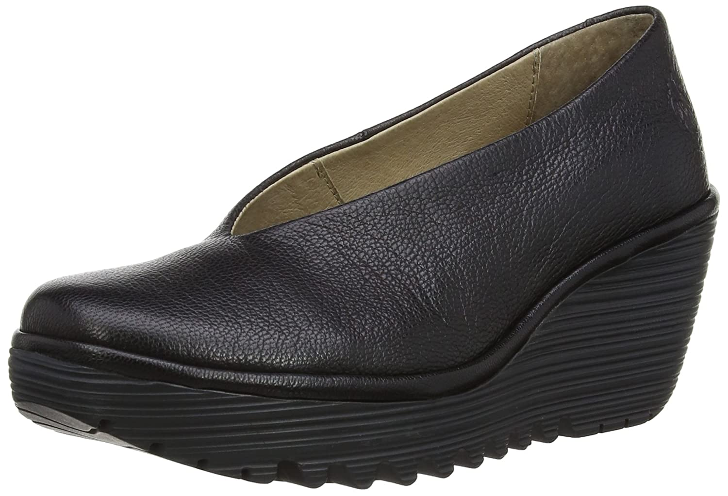 FLY London Women's Yaz Wedge Pump B00J9C27Q0 41 EU/10-10.5 M US|Black Mousse