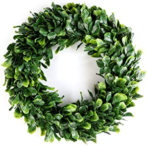 Heflashor 15'' Boxwood Wreath Eucalyptus Wreath Artificial Door Wreath Decoration Leaves Wreath Eucalyptus Garland for Home Office Wall Front Door Wedding Decor