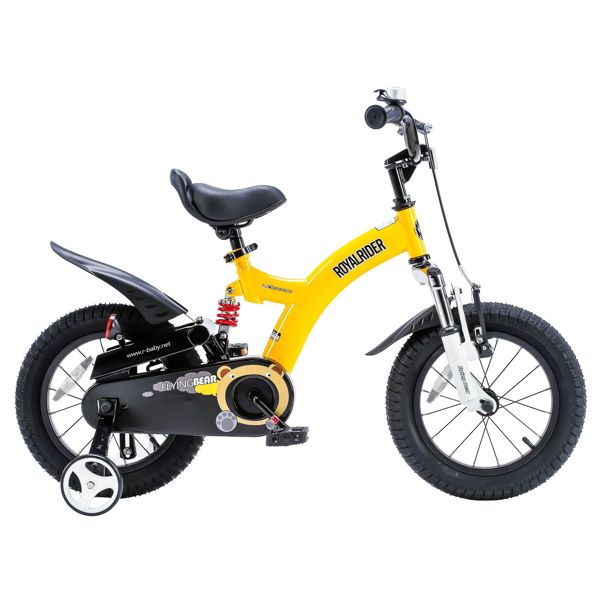 Royalbaby Flying Bear Full Suspension Kids Bike Perfect Gift for Kids, Boys Bike, Girls Bike, Sport Bike, 12 Inch Wheels, Yellow