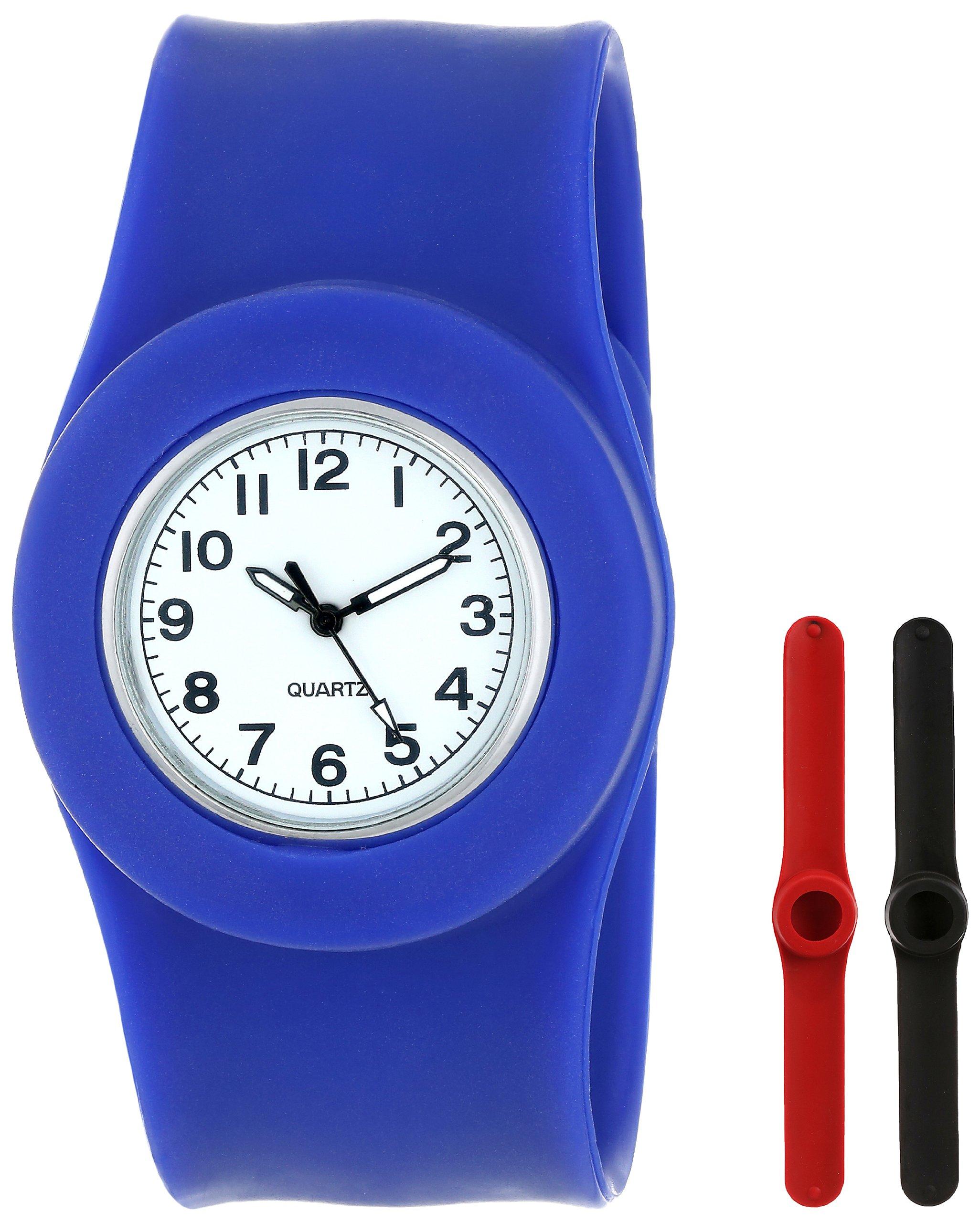 Slide Kids' SL3P-JUURL Slap 3PAQ Jumbo Blue, Red and Black Watch
