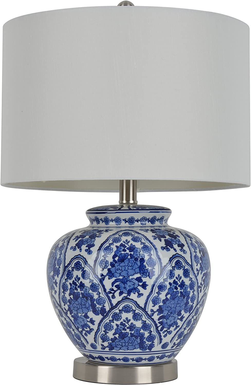 "Décor Therapy TL7912 20"" Ceramic Table Lamp, Blue/White Finish"