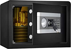 US STOCK 0.8 Cub Fireproof and Waterproof Safe Box with Digital Keypad for Home Office, Dual-Security Steel Safe for Money Gun Jewelry Document