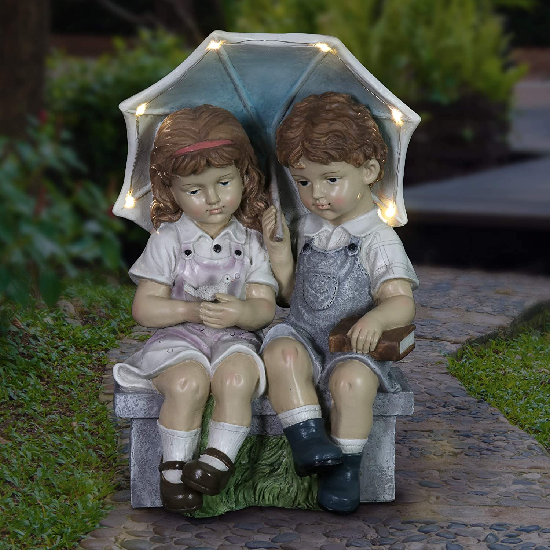 Exhart Solar Boy and Girl with Umbrella Garden Statuary, 17 Inches Tall