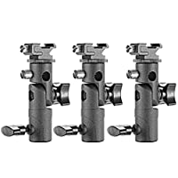 Neewer Professional Universal E Type Camera Flash Speedlite Mount Swivel Light Stand Bracket with Umbrella Holder for Canon Nikon Pentax Olympus and other Flashes, Studio Light, LED Light(3 Pack)