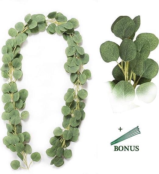 Artificial Silver Dollar Eucalyptus Garland Faux Silk Leaf Vine Greenery Decor