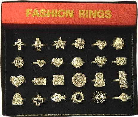 Pack 24 anillos plateados variados joyería accesorios: Amazon.es: Joyería