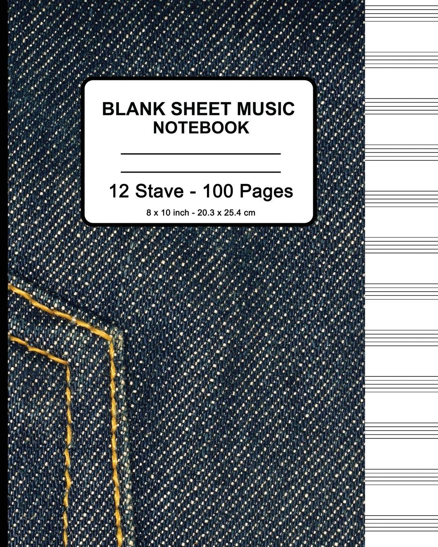 Blank Sheet Music Notebook - Blue Jeans: 8