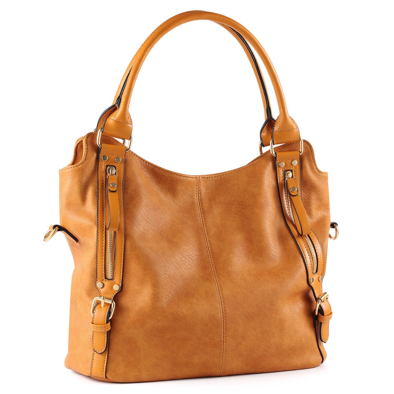 Plambag Women Faux Leather Hobo Handbag Large Tote Purse(Yellowish Brown)