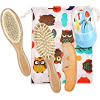 Baby Hair Brush Set Baby Care Kit Includes Wooden Baby Hair Brush Baby Massage Brush and Baby Manicure Set for Newborns…