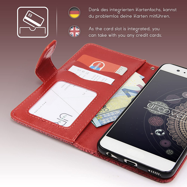 Libro Flip Cover Ecopelle in Nero Huawei P10 Plus Tribal Mandala Acchiappasogni Slot Card Urcover Custodia Huawei P10 Plus Lotus Pattern Wallet Case