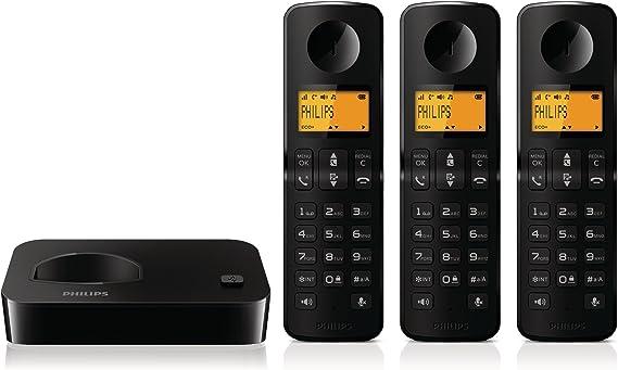 Philips D200 Trio - Teléfono Fijo Digital (inalámbrico, DECT), Negro: Amazon.es: Electrónica