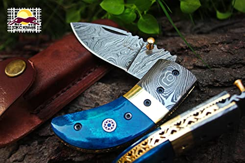 DKC Knives 24 6 18 DKC-43-BL-DS Blue Thumb Damascus Steel Folding Pocket Knife 3.5 Folded 6.25 Long 2.25 Blade 7.25 oz High Class Looks Incredible Feels Great in Your Hand and Pocket Hand Made