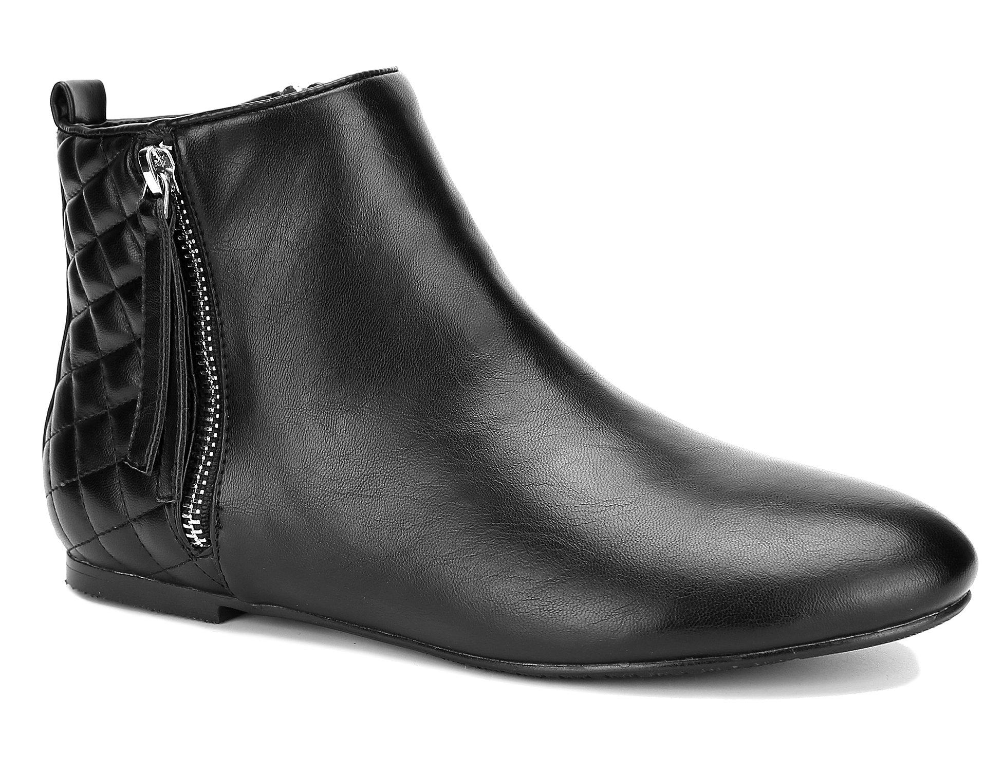 MaxMuxun Women Shoes Flats Classic Ankle Boots (41 EU/10 US, Black PU)