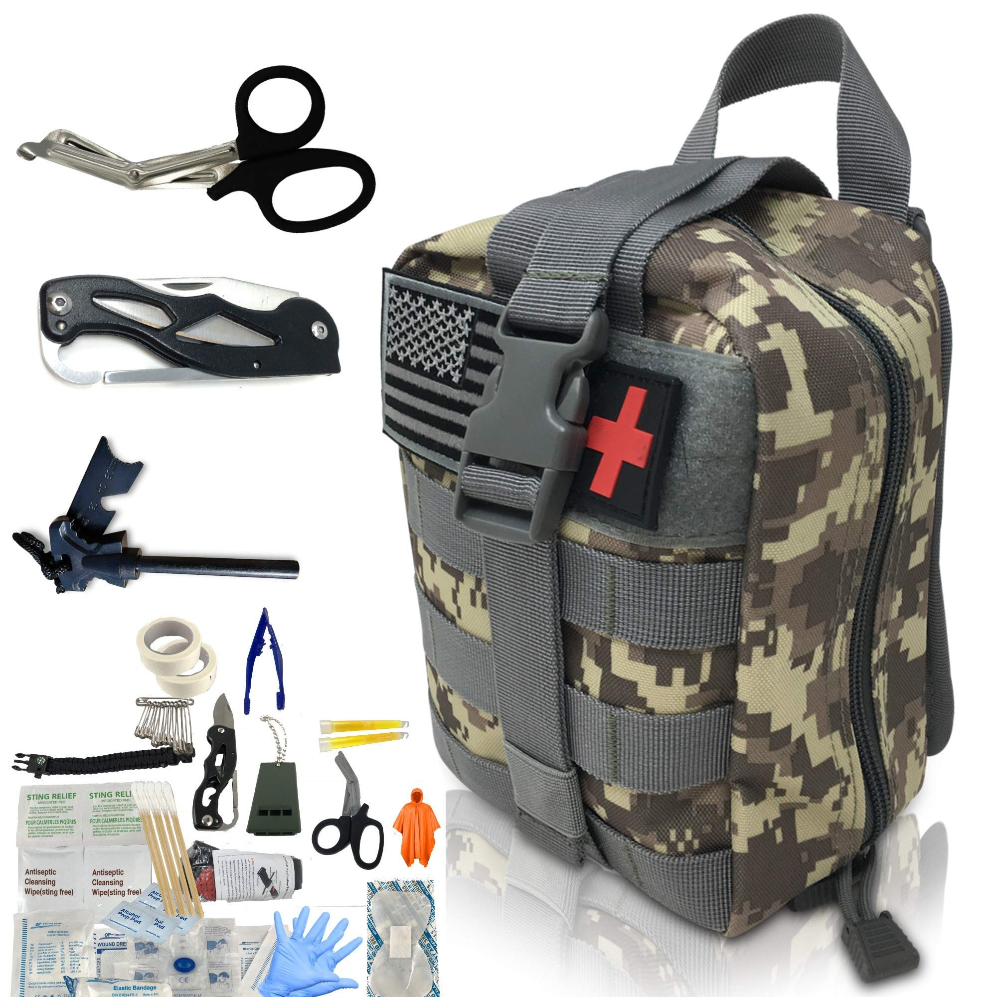 Emergency Trauma Tactical Kit - First Aid SurvivalKit - First Medical Portable Kit for Military Car Boat Home Office Hiking Camping Hunting Travel Adventures Earthquake - Survival Gear Kit Medical by Scuddles