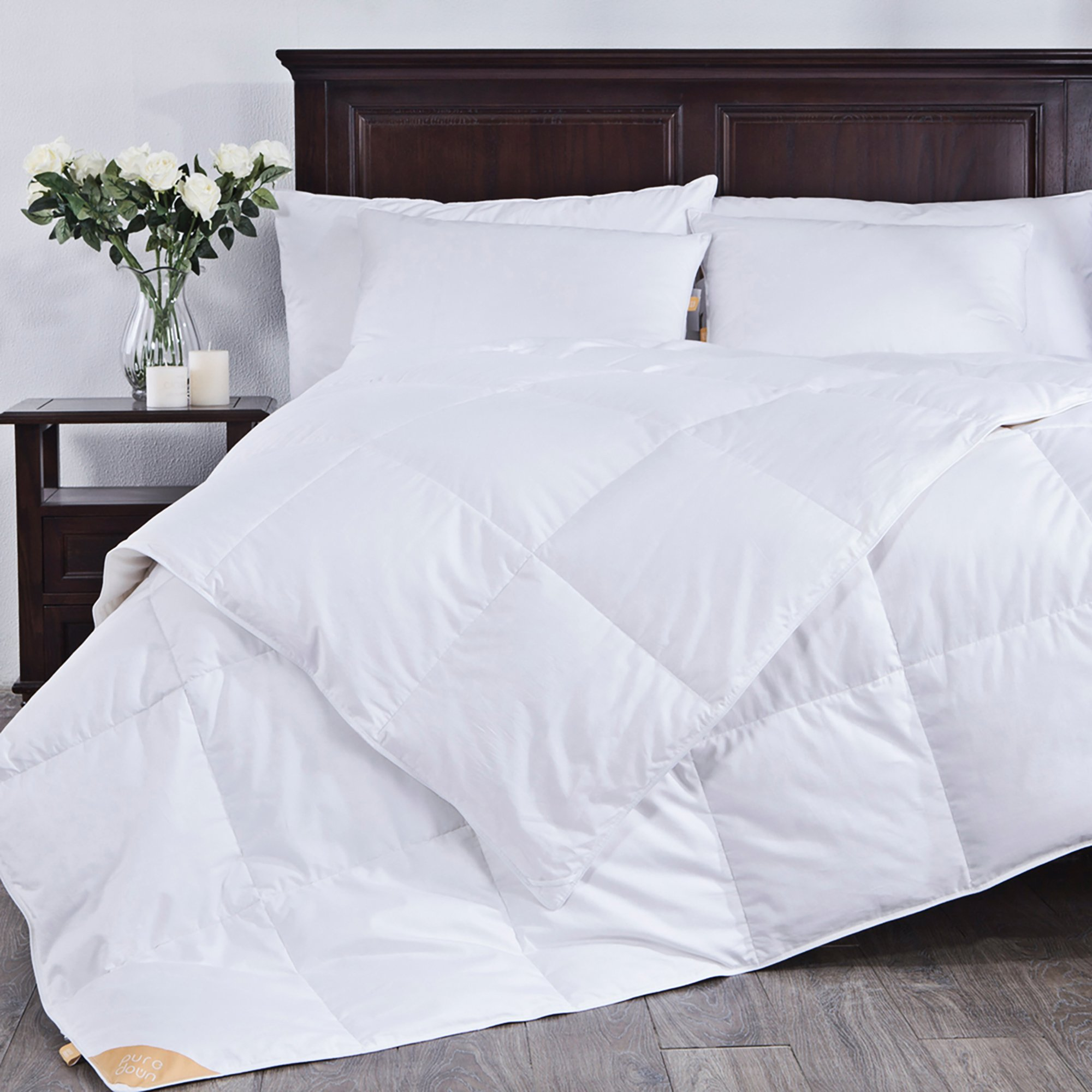 puredown Lightweight White Goose Down Comforter Duvet Insert 300 Thread Count 100% Cotton Fabric 600 Fill Power Down Down Conforter, Full/Queen, by puredown (Image #2)