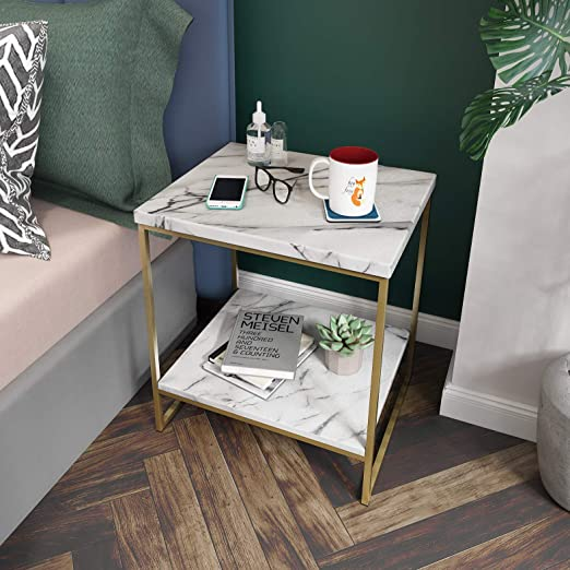 Amazon Com Roomfitters White Marble Print Side Table With Gold